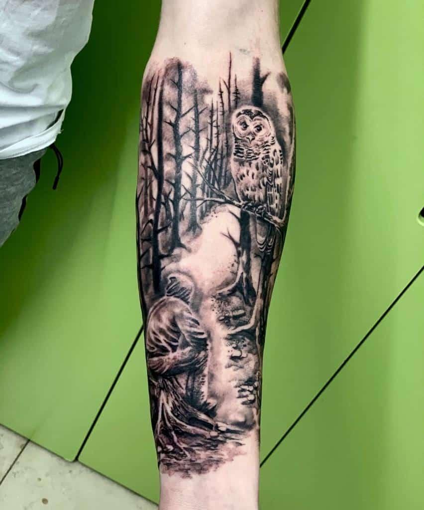 Half sleeve Forest Sleeve Tattoos freak_tattoo_studio