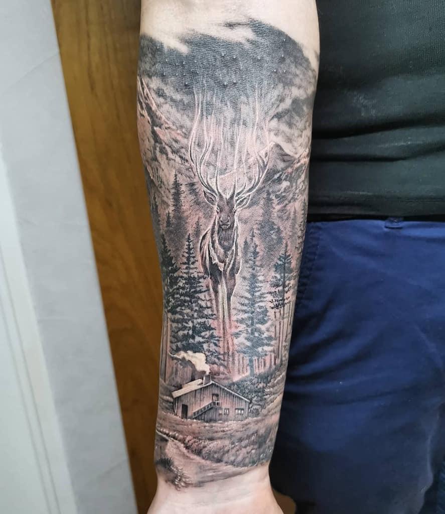 Half sleeve Forest Sleeve Tattoos swann_tattoo