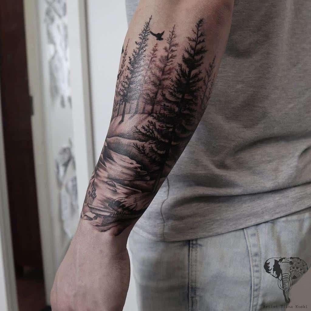 Half sleeve Forest Sleeve Tattoos tiina_koski_tattoo