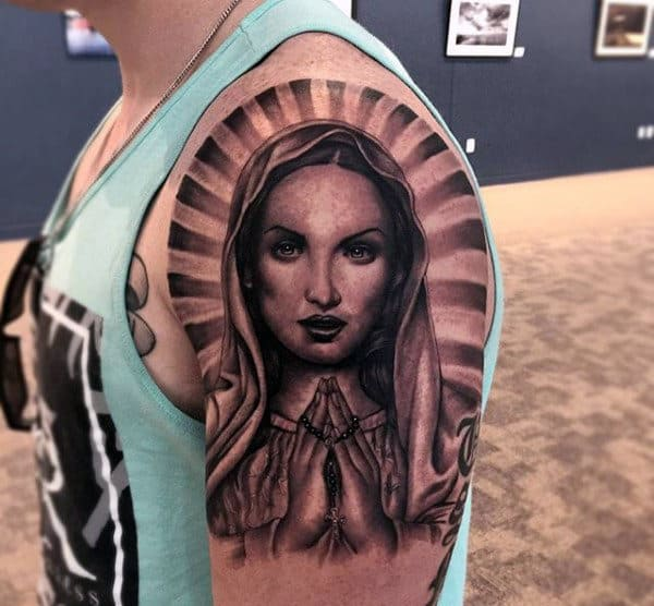 Halo On Goddess Religious Tattoo Male Upper Arms