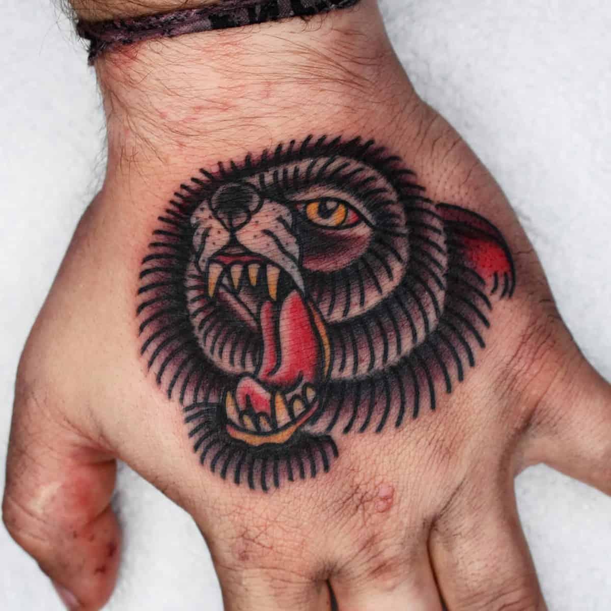 Hand Black Bear Tattoo cuevas_tattoo