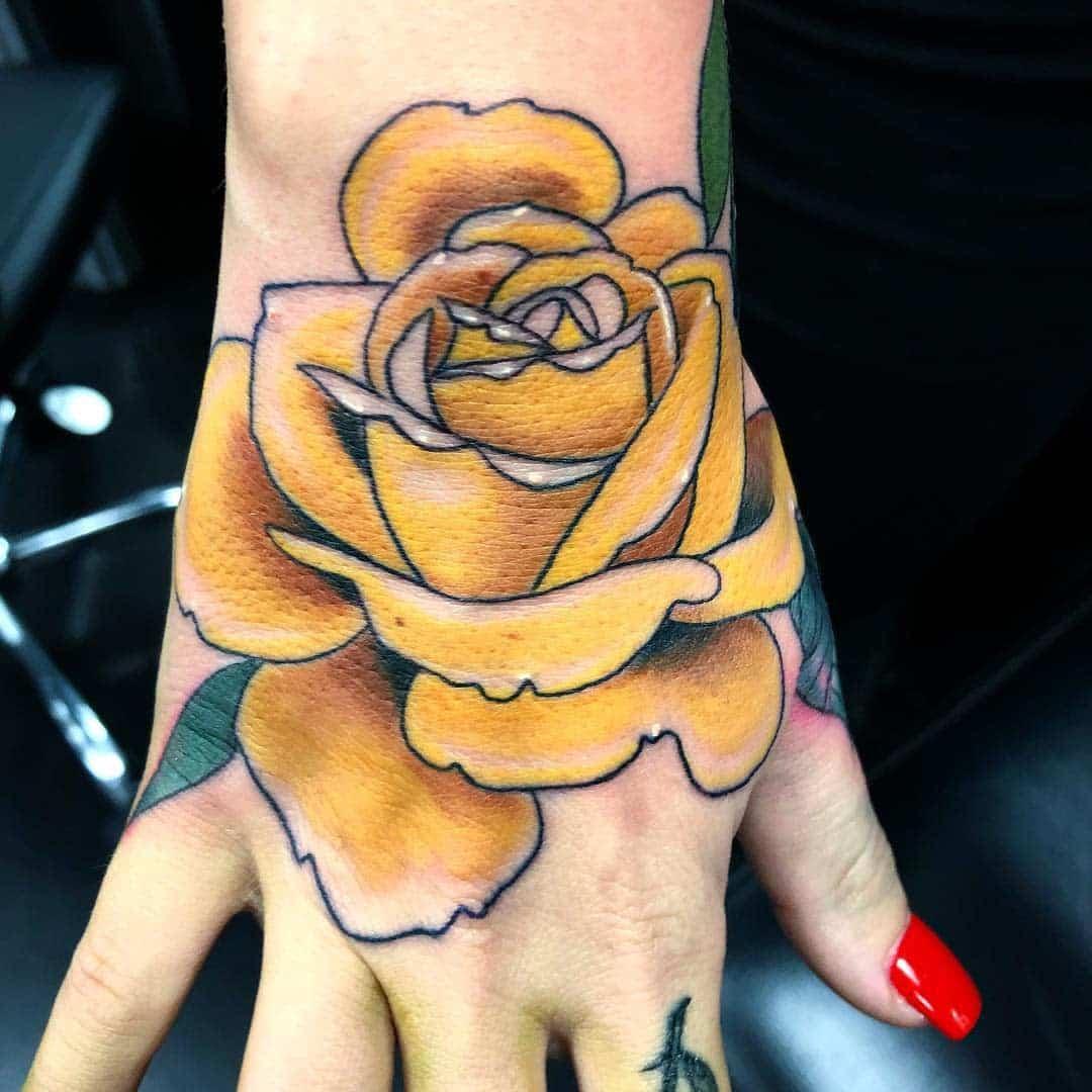 Hand Yellow Rose Tattoo -ignaciofloresart