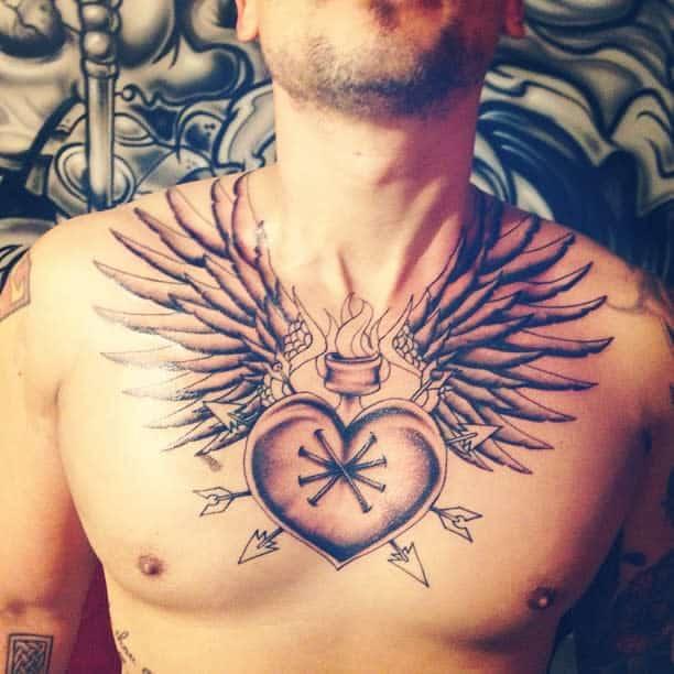 Heart With Wings Chest Tattoo aka_biz_e