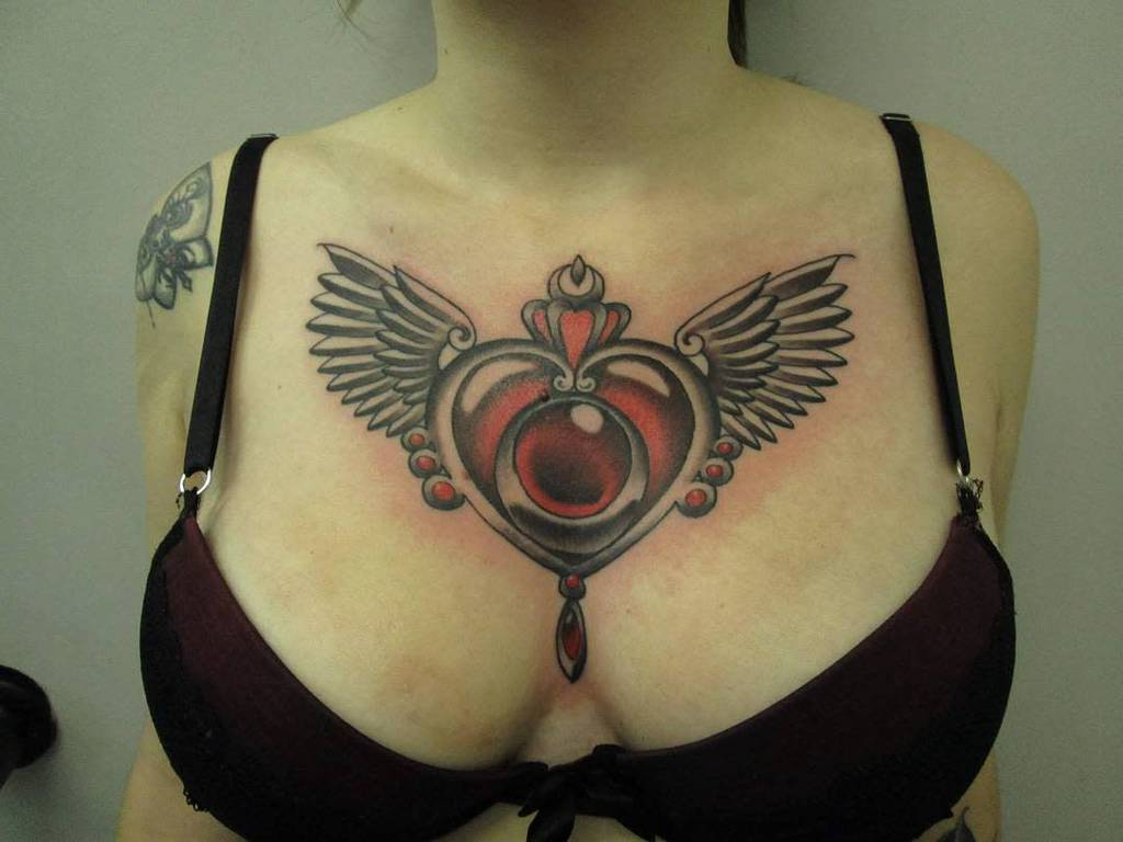 Heart With Wings Chest Tattoo bryanmayers