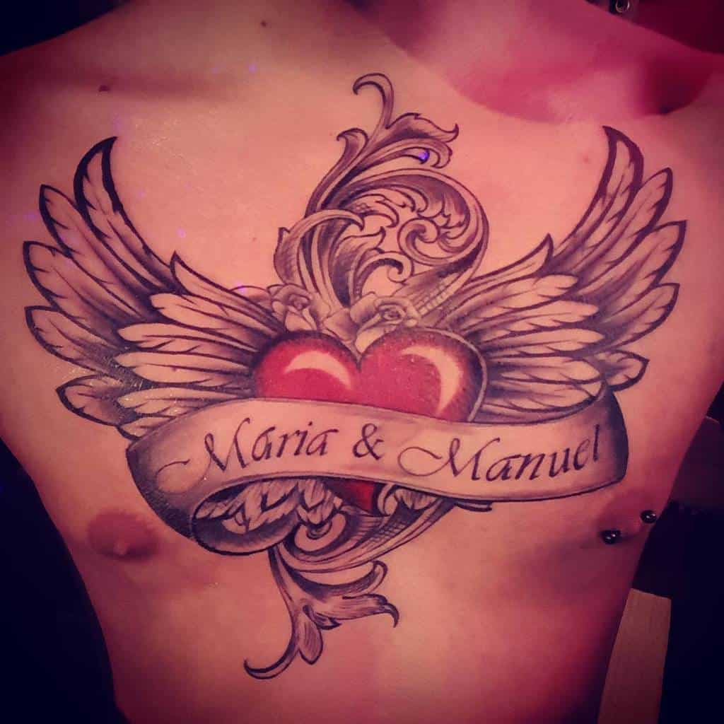 Heart With Wings Chest Tattoo nunoteixeira88