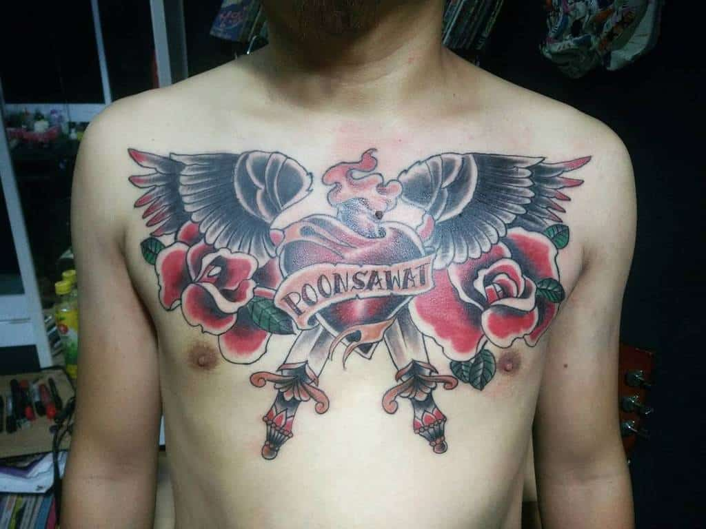 Heart With Wings Chest Tattoo tai.tod