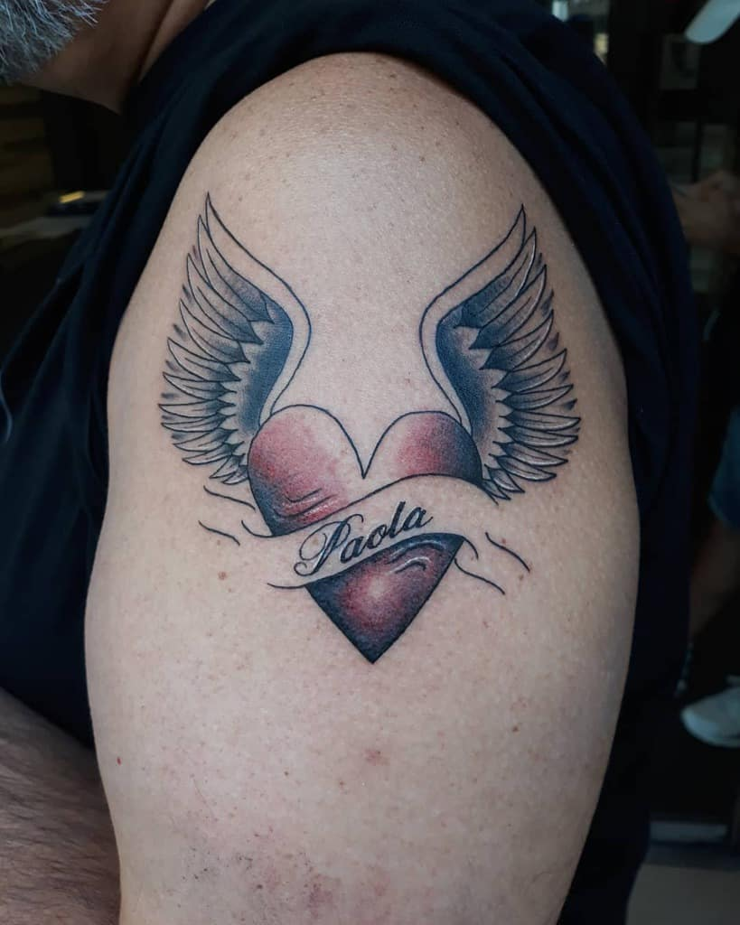 Heart With Wings Shoulder Tattoo dontristetattoo