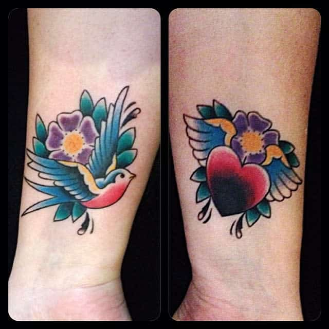 Heart With Wings Wrist Tattoo zozobindle
