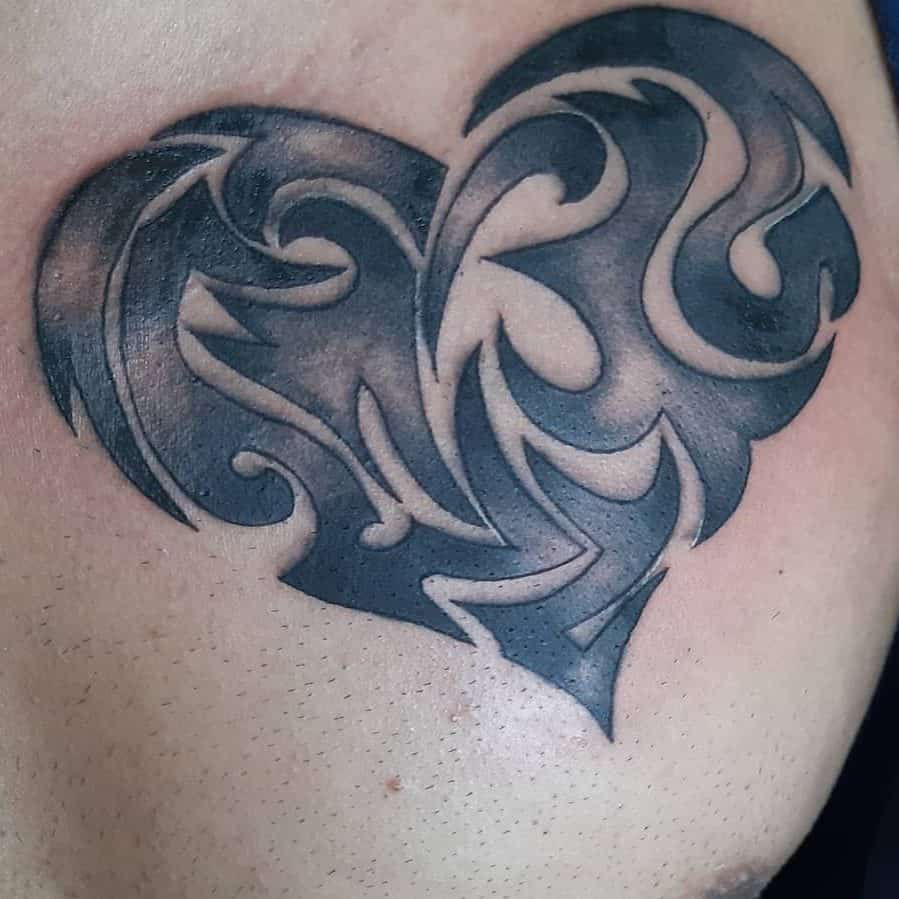 Heavy Black Ink Heart Tattoo Needle Point Tattoos
