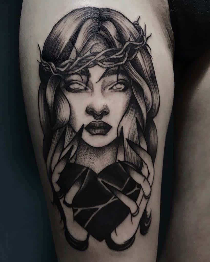 Heavy Black Ink Heart Tattoo Tattoolinka