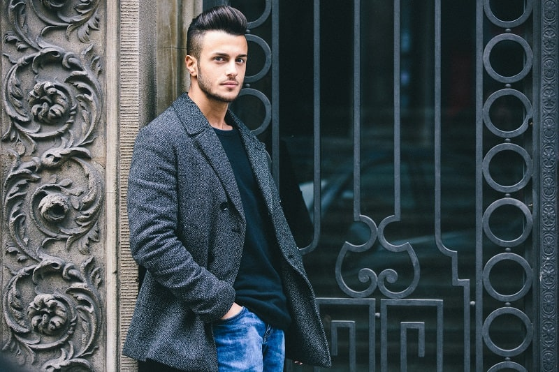 Handsome,Young,Mas,Posing,In,Grey,Coat.,Added,Photo,Filter