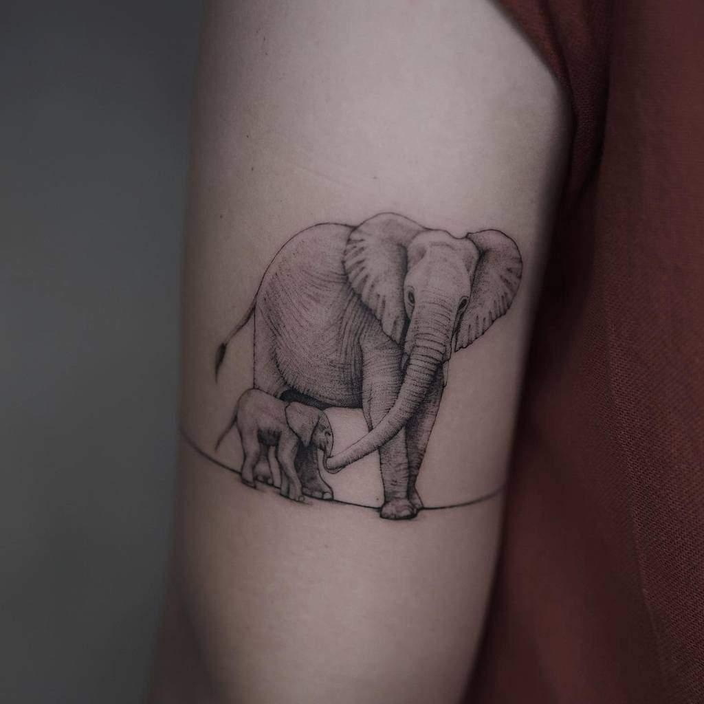 inked-elephant-single-needle-tattoo-madmessphoebe