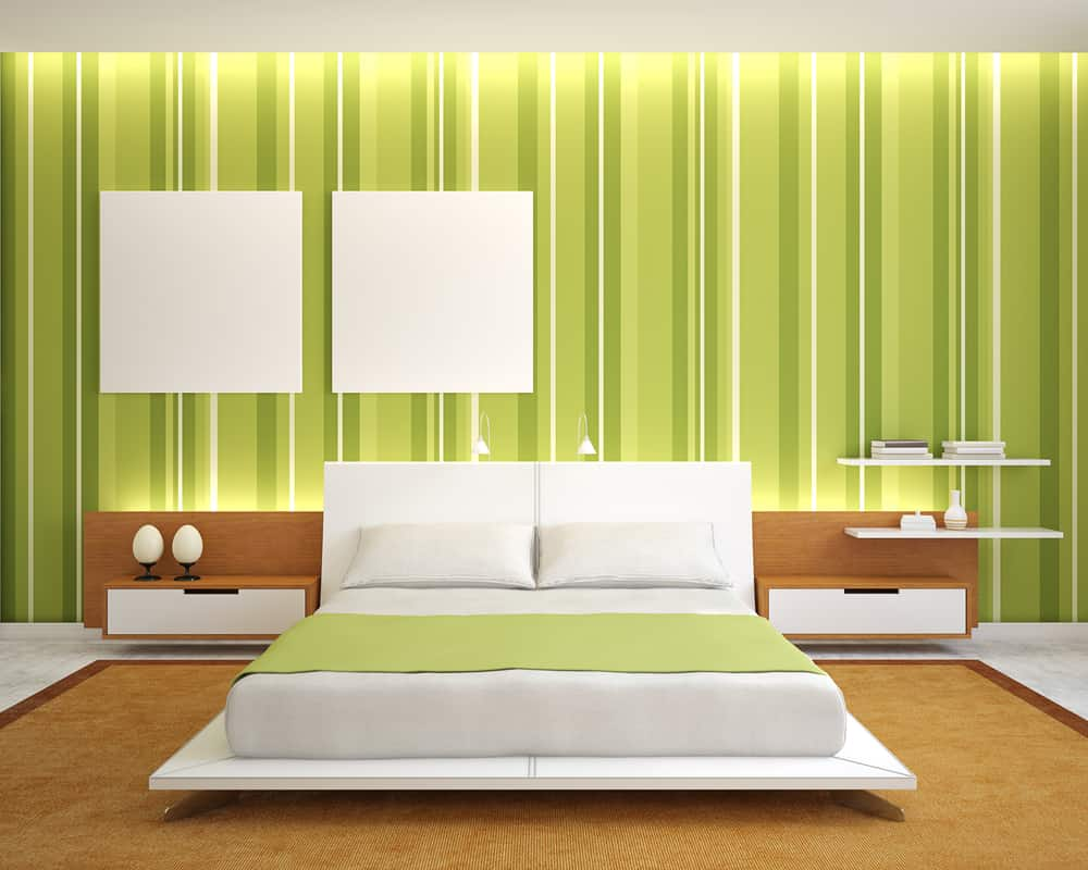 Modern,Bedroom,Interior,With,Green,Walls,And,King-size,Bed.,3d