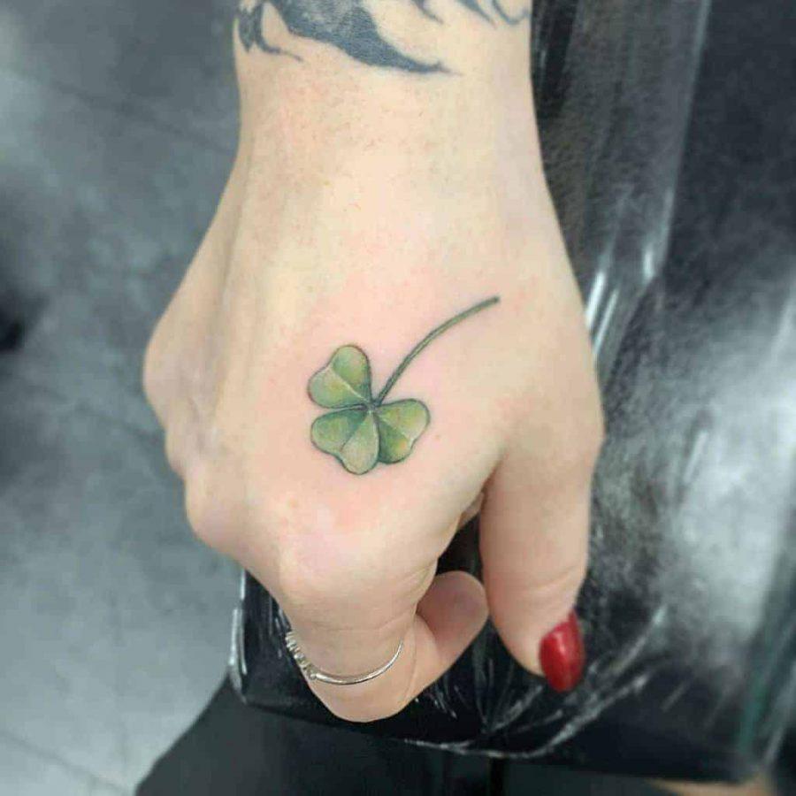 Irish Shamrock Hand Tattoo