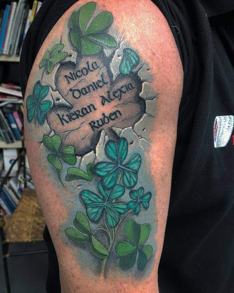 Irish Upper Arm Shamrock Tattoo