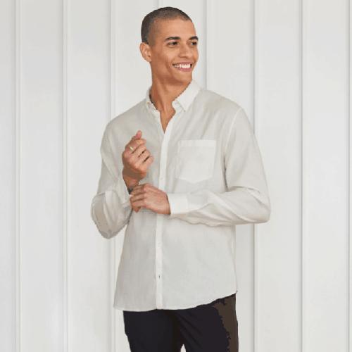 L'Estrange London All Day Linen Collard Shirt