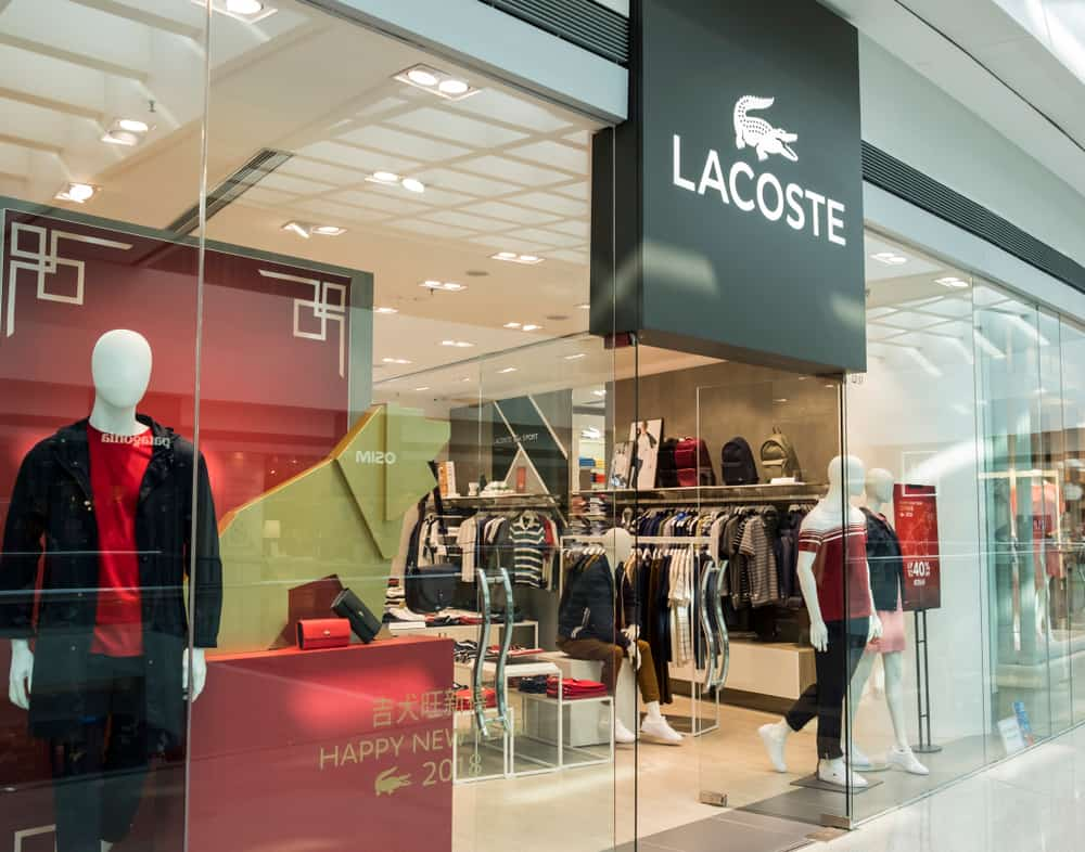 Front of a Lacoste store in a shopping mall in Hong Kong