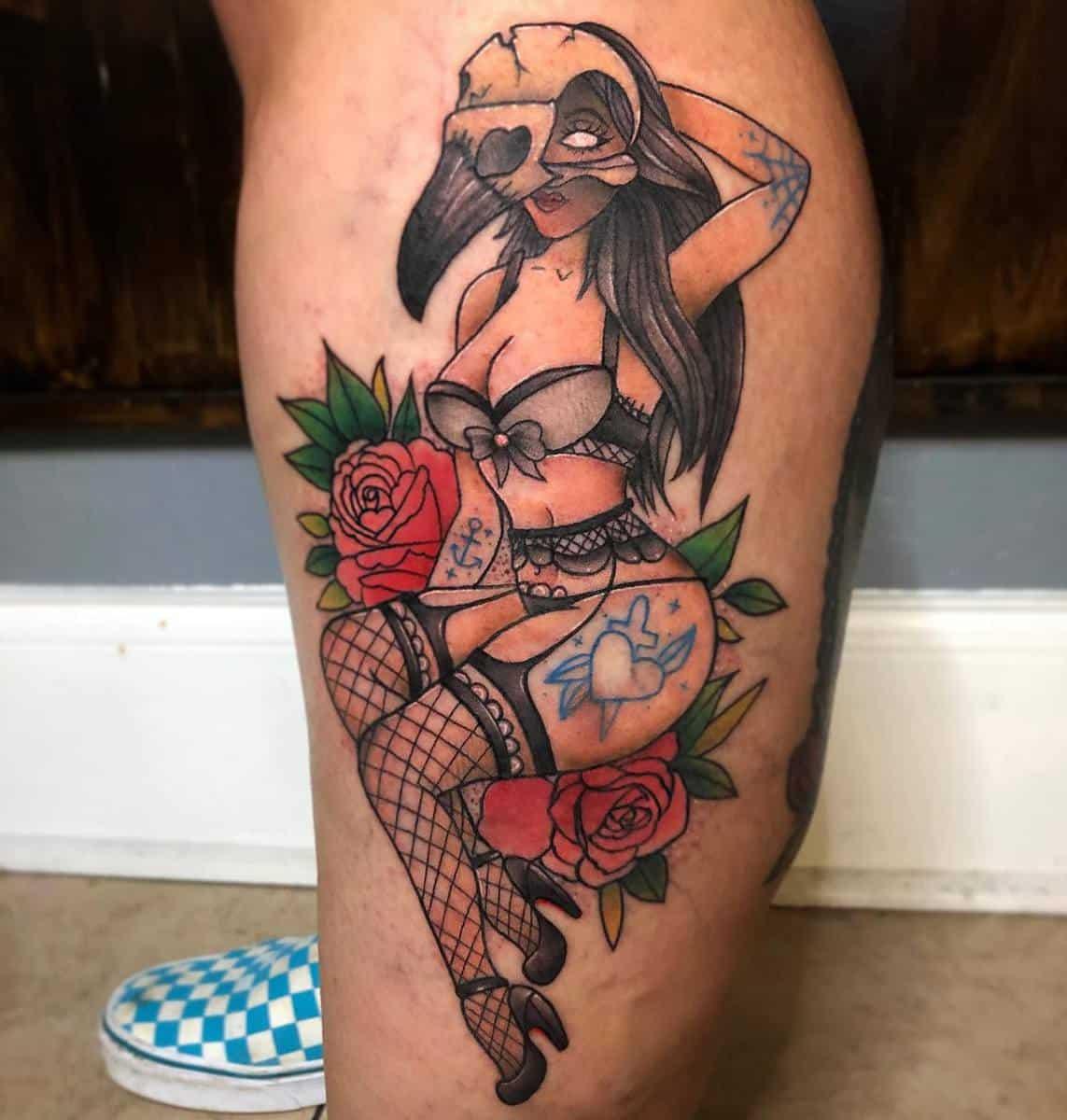 Leg Pin Up Girl Tattoo -paintedturtletattoos