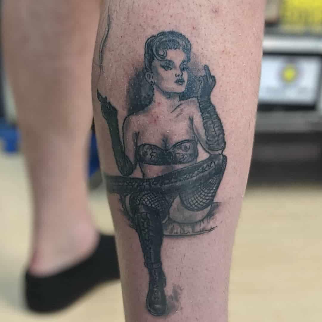 Leg Pin Up Girl Tattoo -ukiahtattooco