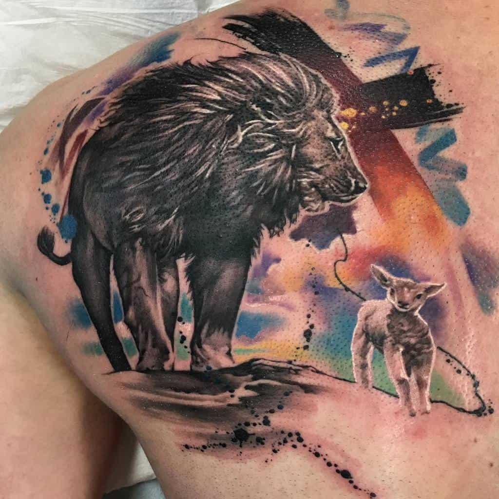 Lion and Lamb Back Tattoo roveink