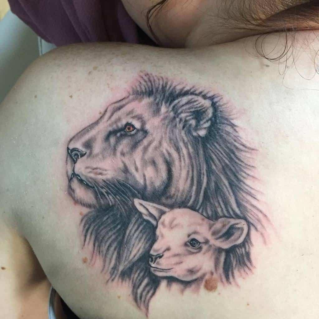 Lion and Lamb Back Tattoo tattered71