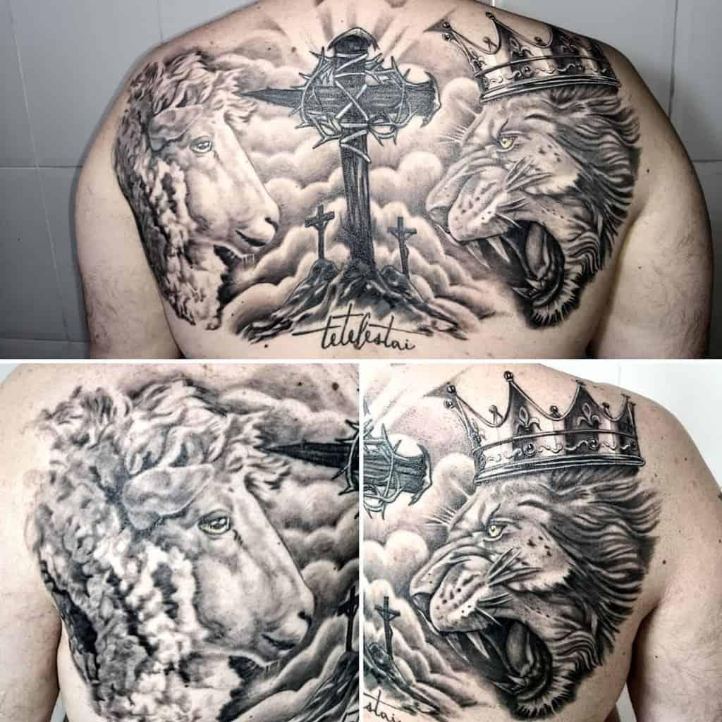 Lion and Lamb Back Tattoo tochatattoostudio