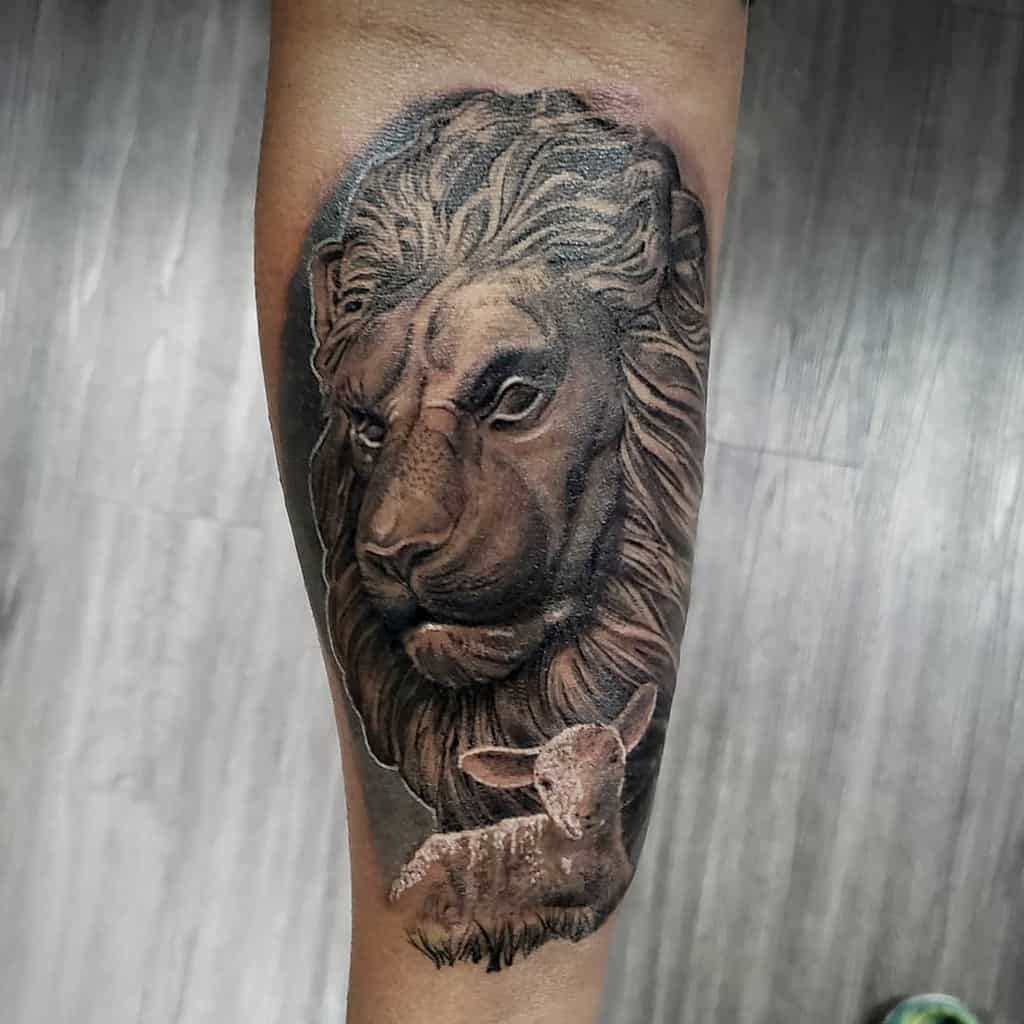Lion and Lamb Forearm Tattoo ceeolafbee