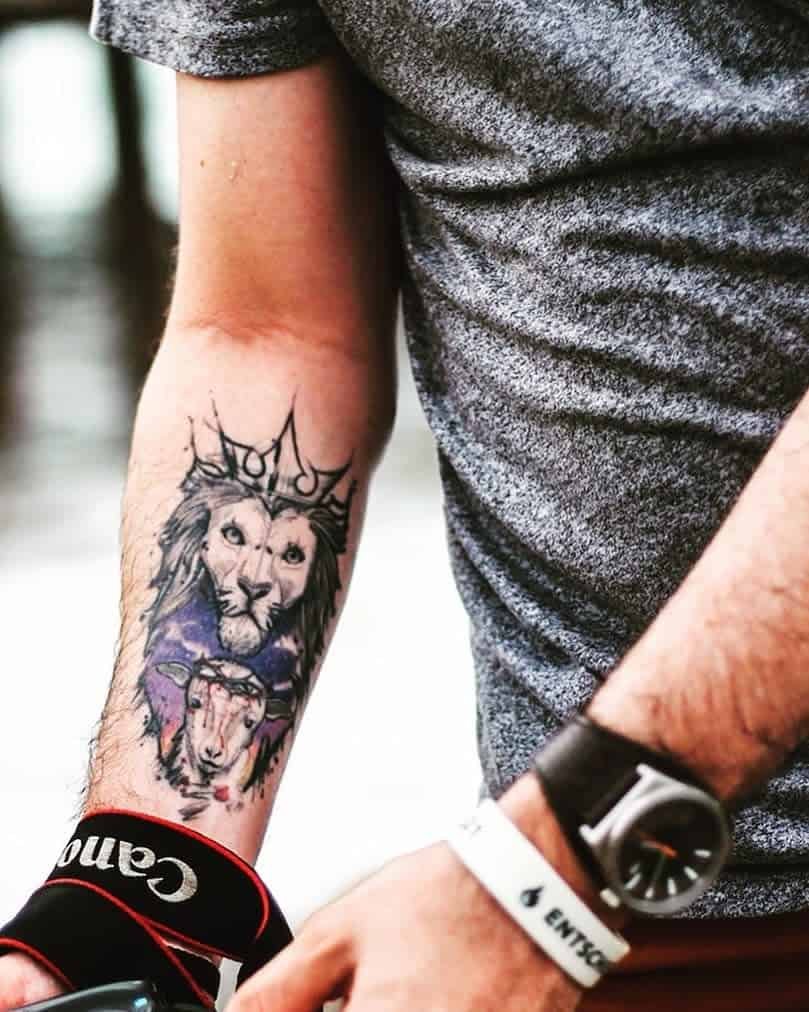 Lion and Lamb Forearm Tattoo discoverliveshare
