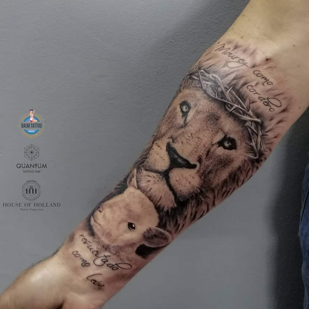 Lion and Lamb Forearm Tattoo house_of_holland_tattoos