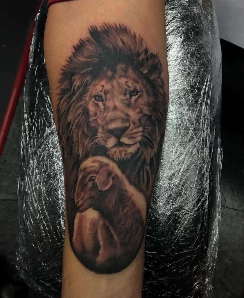Lion and Lamb Forearm Tattoo smokinjoetattoo