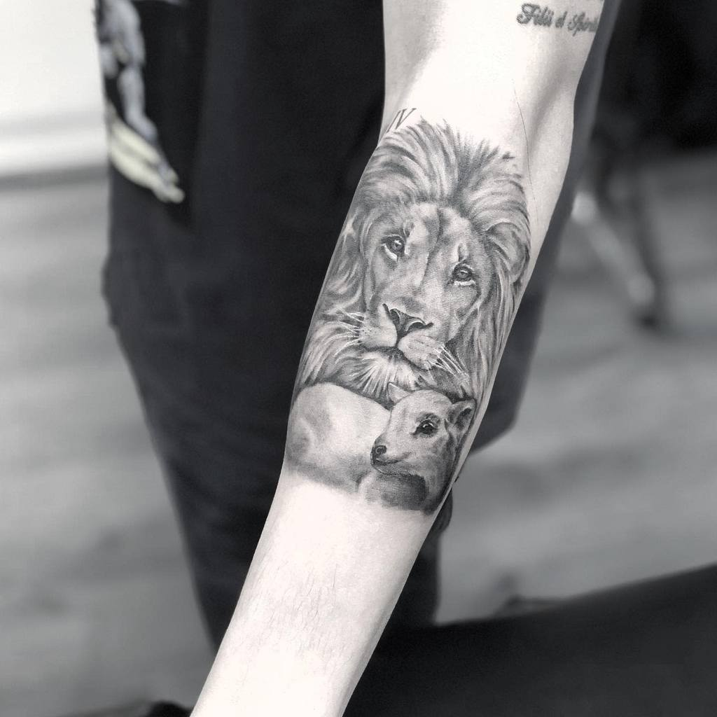 Lion and Lamb Forearm Tattoo wanjaekruger
