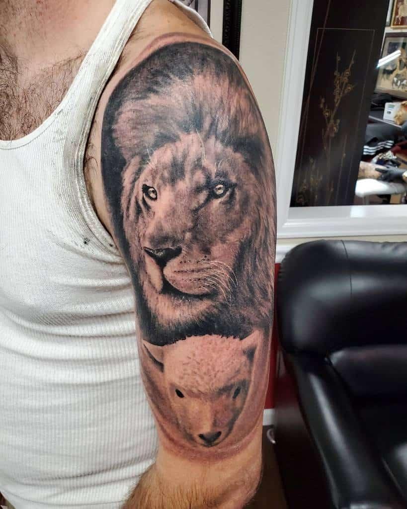 Lion and Lamb Shoulder Tattoo 720mainstreettattoo