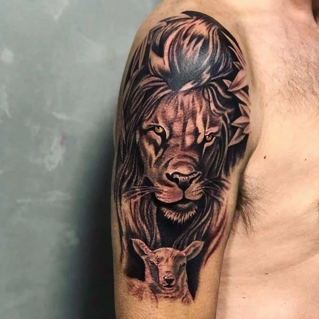 Lion and Lamb Shoulder Tattoo cajactattoo