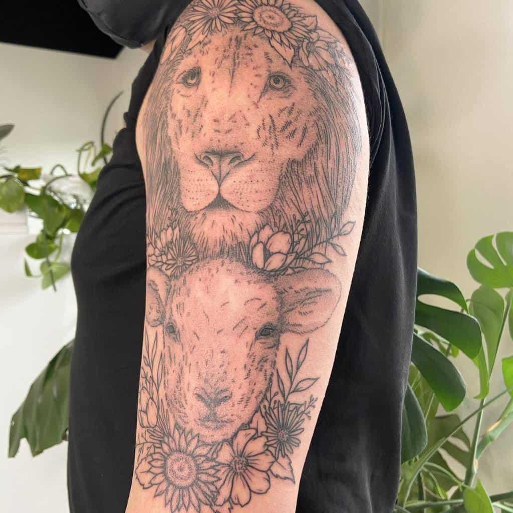 Lion and Lamb Shoulder Tattoo haleygardinertattoos