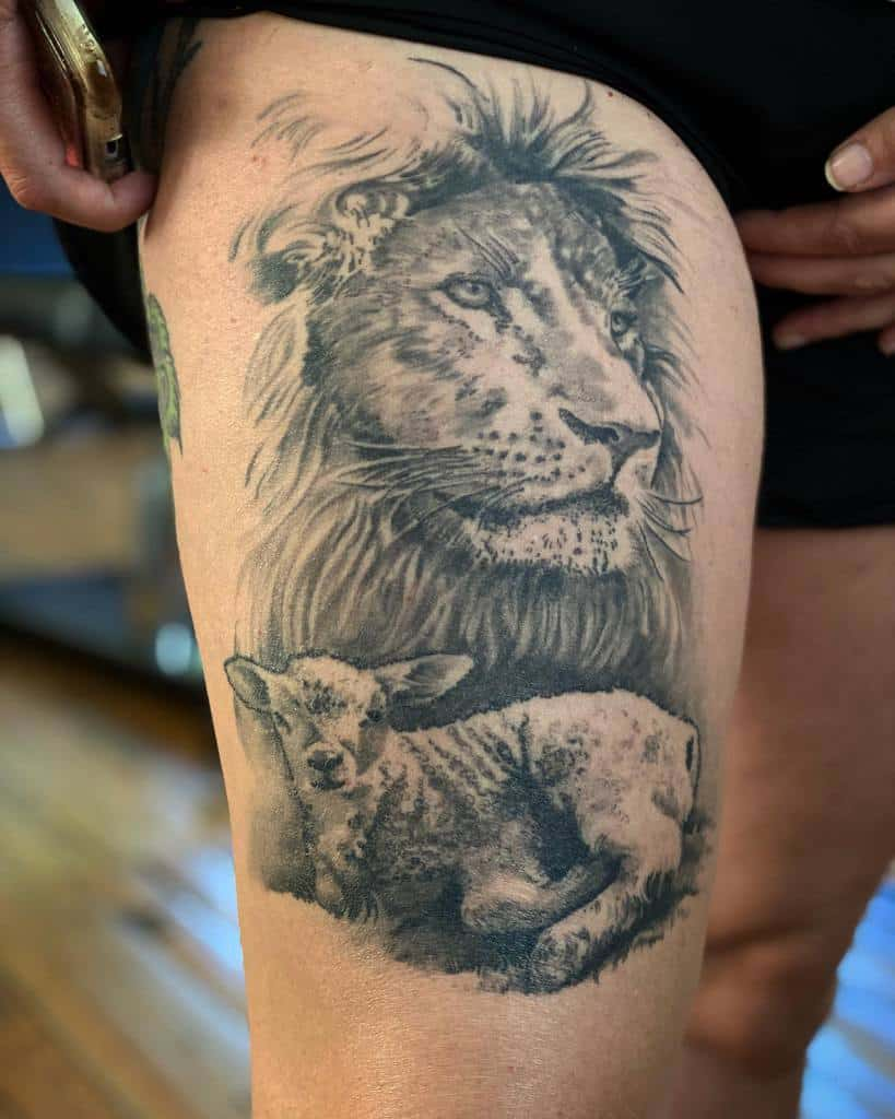 Lion and Lamb Thigh Tattoo chrischavers