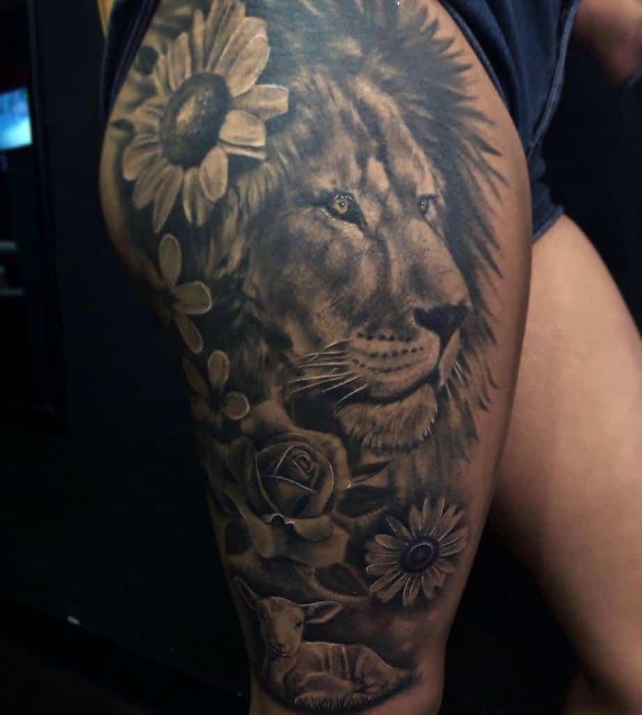 Lion and Lamb Thigh Tattoo eddycastillotattoos210