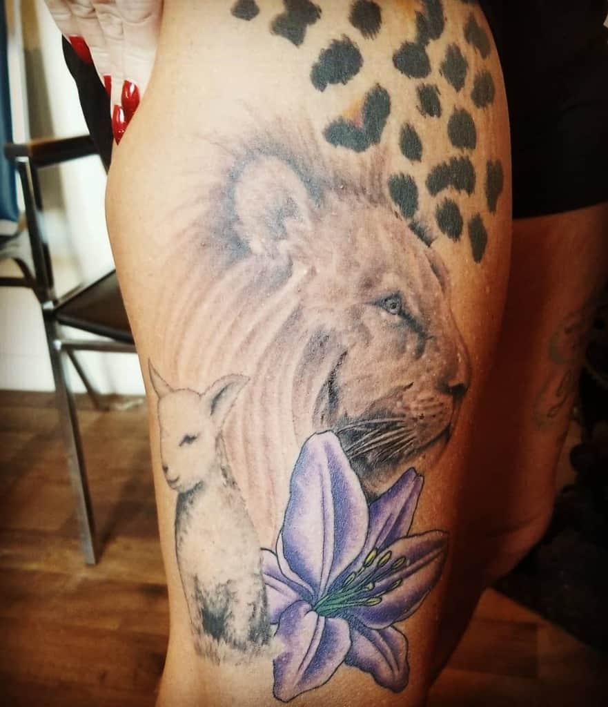 Lion and Lamb Thigh Tattoo mrslorijennings