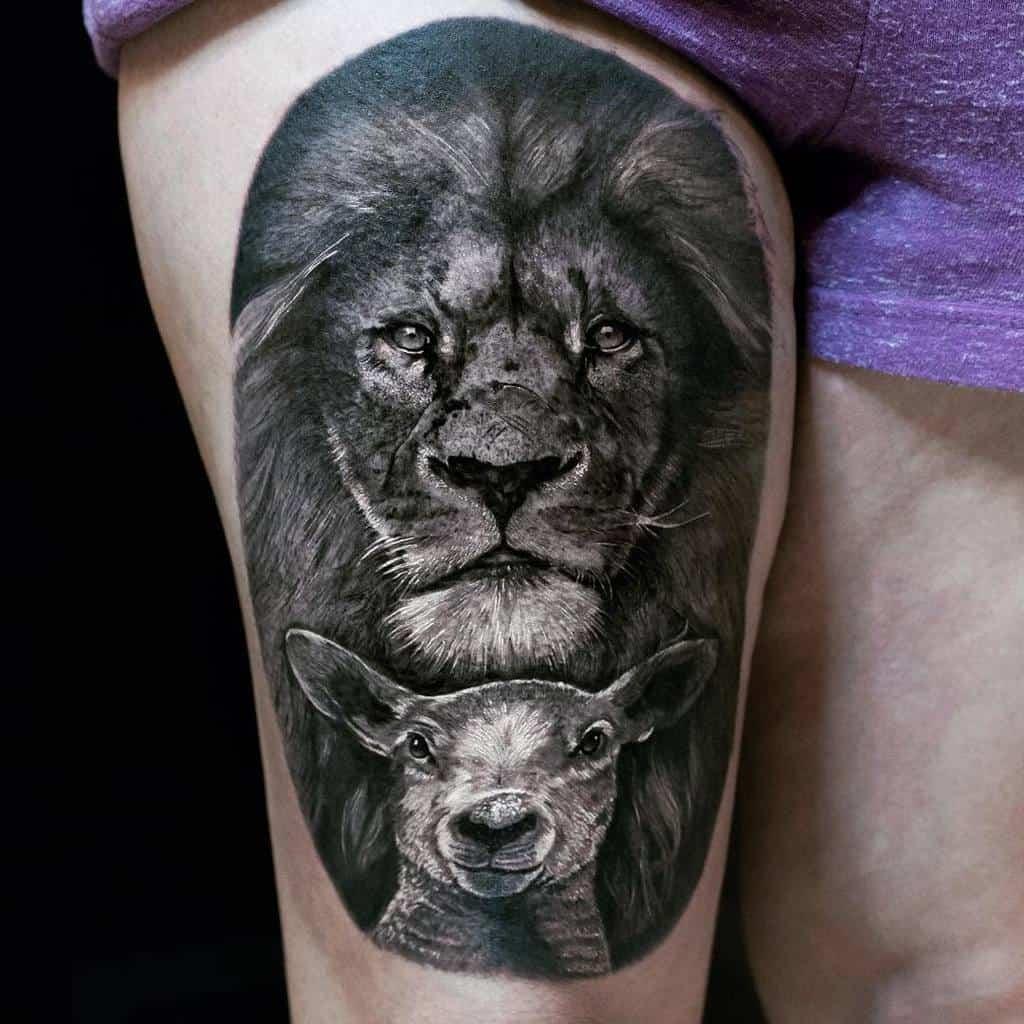 Lion and Lamb Thigh Tattoo victuhree