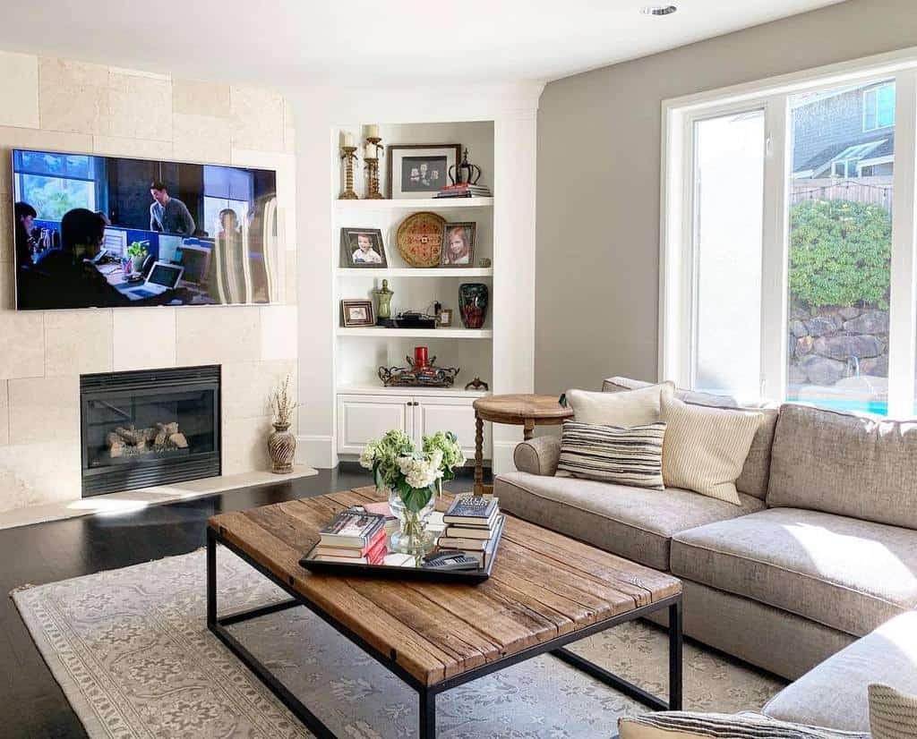 Living Room Transitional Design Achdesignllc