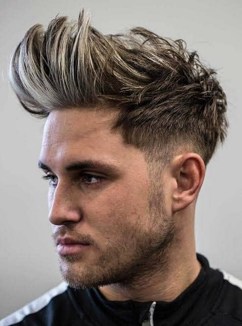 man with long fohawk hairstyle