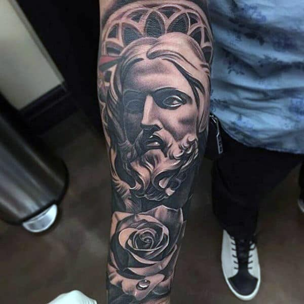 100 religious tattoos for men sacred design ideas for Jesus tattoos on arm