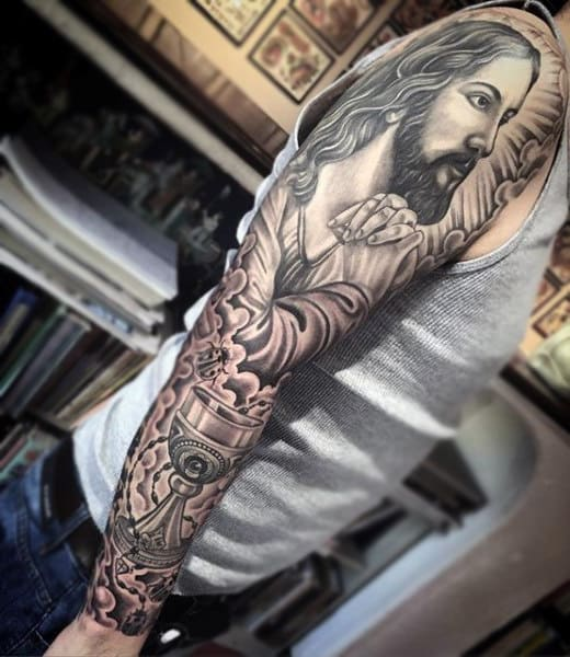 Lord And The Chalet Religious Tattoo Men Full Sleeves