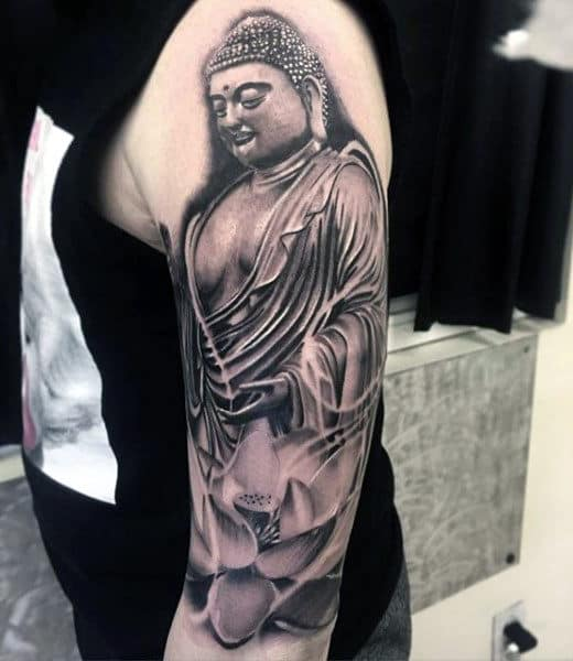 Lotus And Buddha Religious Tattoo Male Sleeves