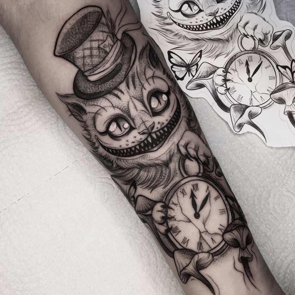 Mad Hatter Cheshire Cat Tattoo anaschmitt3