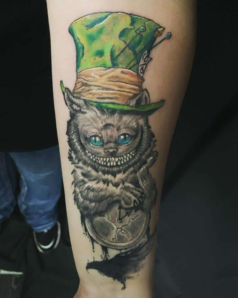 Mad Hatter Cheshire Cat Tattoo doom_monkey_studio