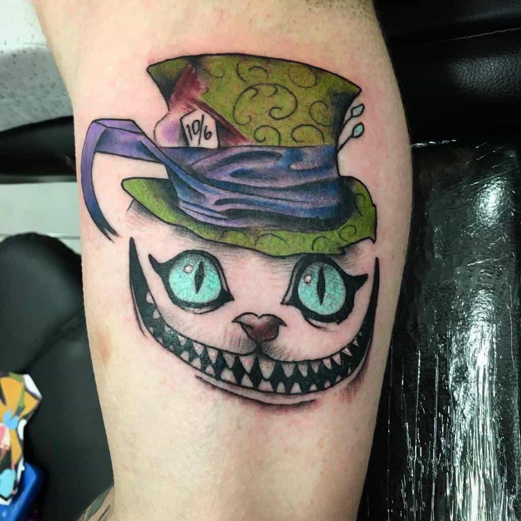 Mad Hatter Cheshire Cat Tattoo harry_aranda_tattooer