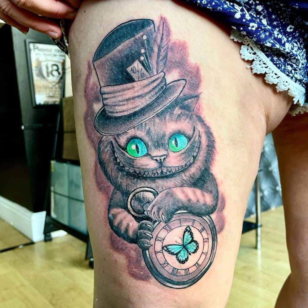 Mad Hatter Cheshire Cat Tattoo jayeshepherdtattoo