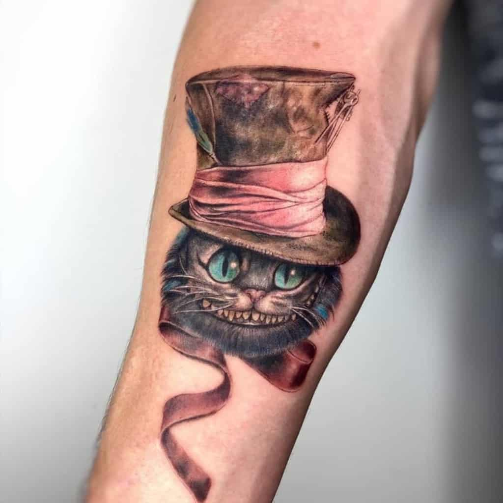 Mad Hatter Cheshire Cat Tattoo michel.cacici3