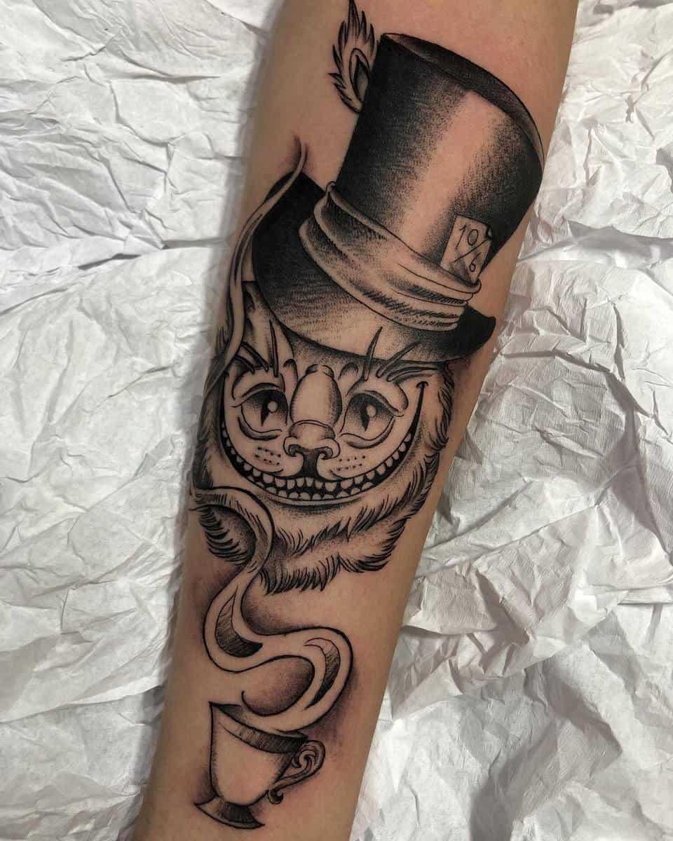 Mad Hatter Cheshire Cat Tattoo phernandu