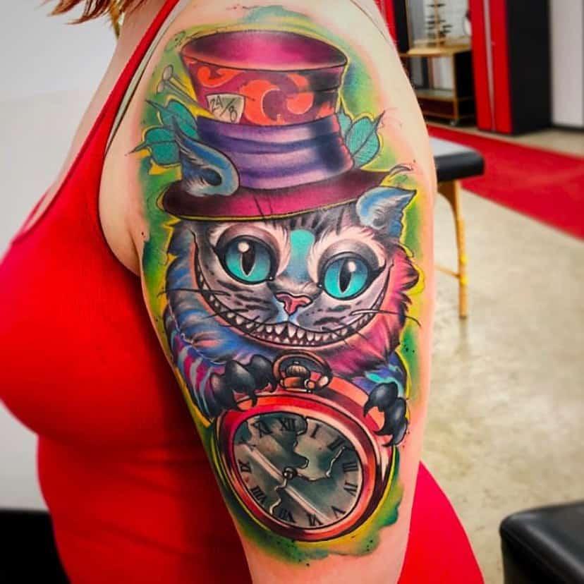 Mad Hatter Cheshire Cat Tattoo theburlybeardtattoostudio